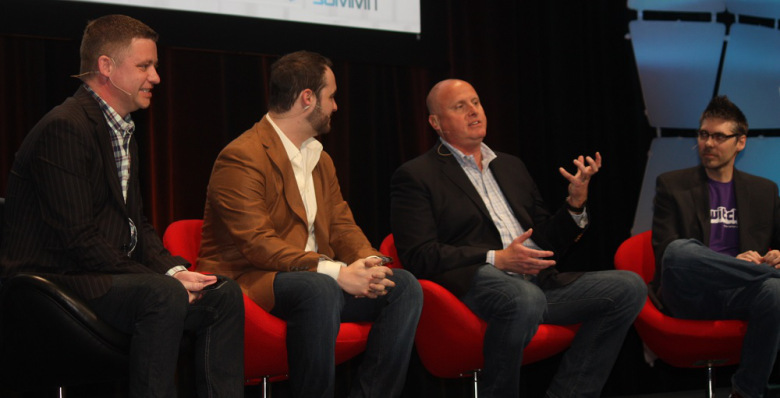 "(From left to right) Jonathan Simpson-Bint sits with Bart Koenigsberg, John Smedley, and Marcus ""djWheat"" Graham during a livestreaming discussion as part of the GamesBeat's Game Marketing Summit."