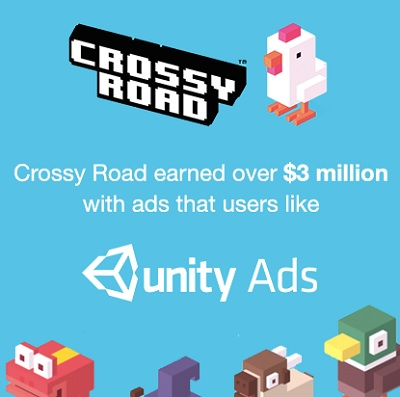 Unity Ads made $3 million for Crossy Road.