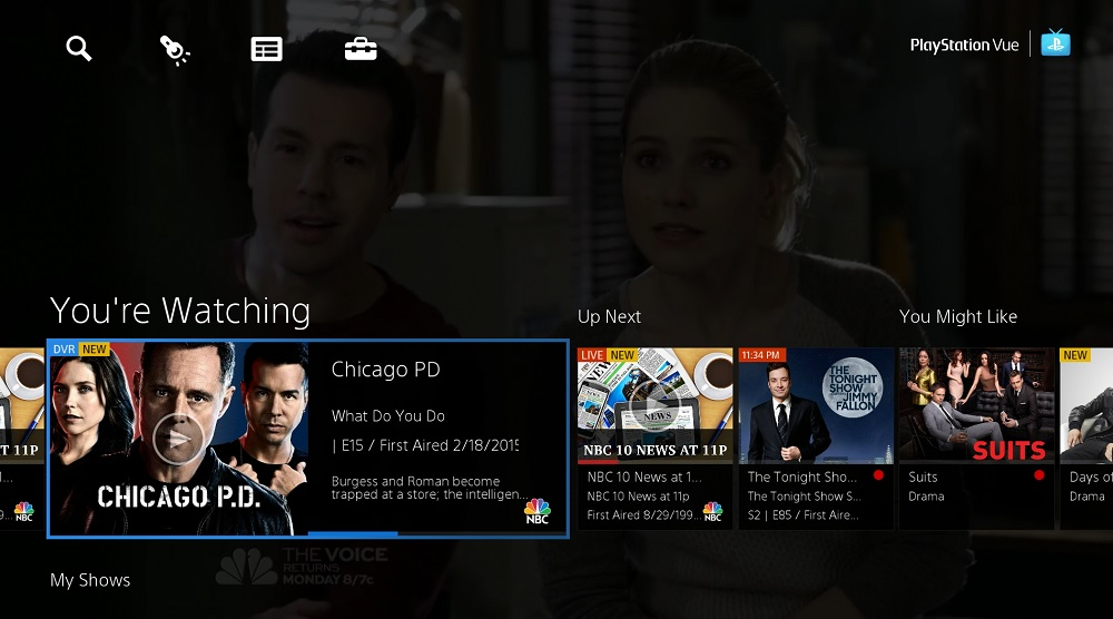 You use a game controller to scroll through shows on PlayStation Vue.