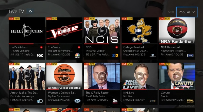 PlayStaiton Vue lists live TV shows