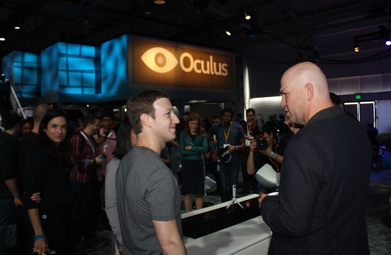 Mark Zuckerberg, CEO of Facebook, gets a demo of Oculus VR and Facebook Teleportation.