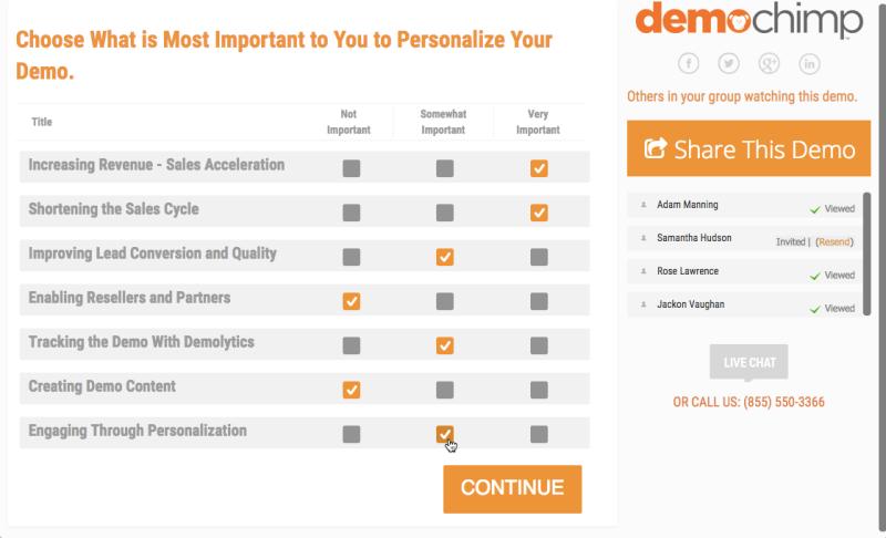 The interest-prioritization screen in DemoChimp