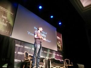 Dean Hall giving his presentation at SlushPlay in Reykjavik, Iceland.