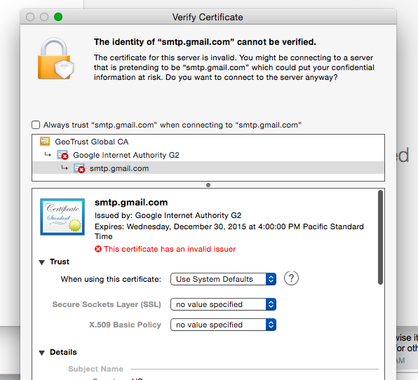 Gmails Ssl Certificate For Smtp Appears To Have Expired Update