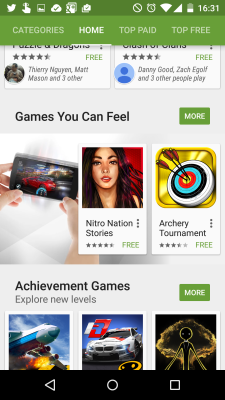 Google is highlighting games with great force feedback.