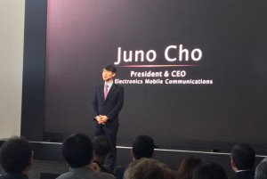 LG's mobile communications business Juno Cho speaking at the LG G4 event in New York Tuesday.