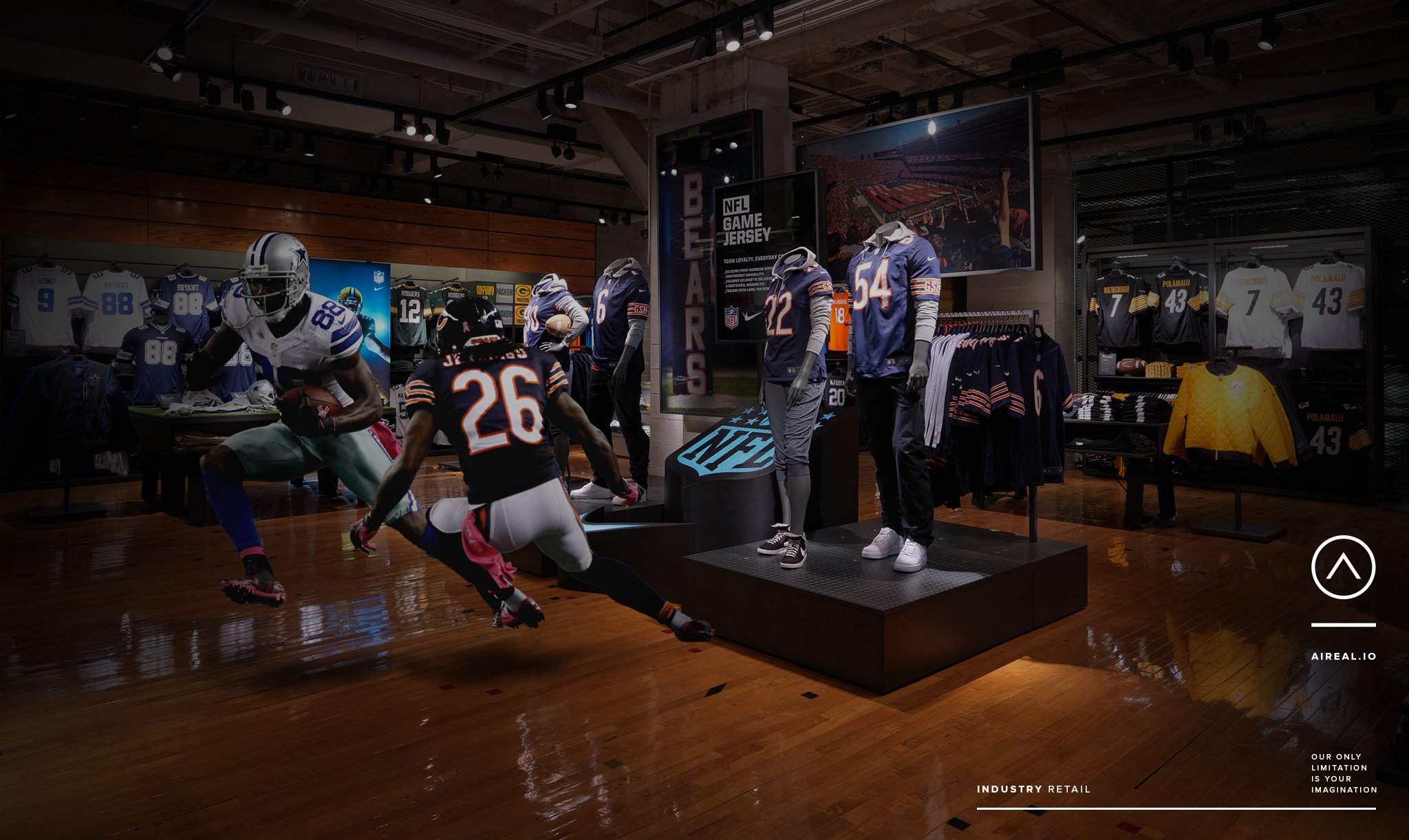 Football players in a sporting goods store? It's possible with Aireal's AR tech.