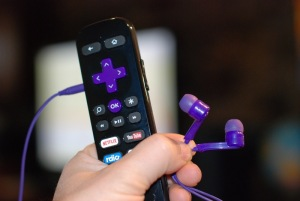The Roku 3 remote keeps the headphones but ditches the 7-second replay button in favour of voice search. Photo by Simon Cohen.