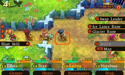 The top-down presentation of Etrian Mystery Dungeon looks nothing like the 3D corridors of Etrian Odyssey.