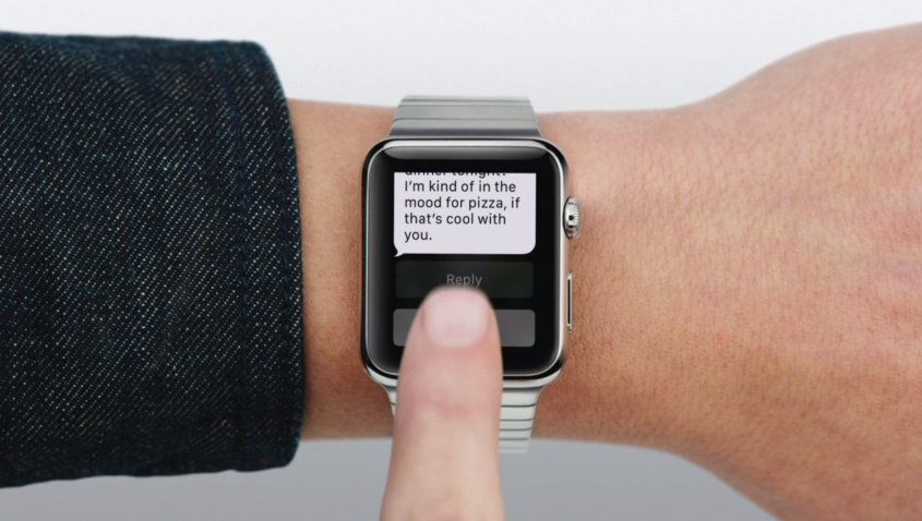 Demonstrating the Watch's messaging features.