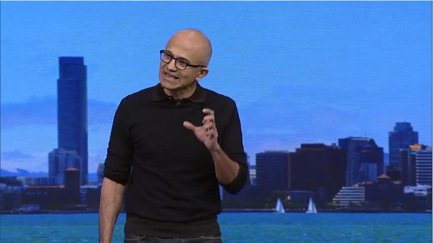 Microsoft chief executive Satya Nadella speaks at Microsoft's Build developer conference in San Francisco on April 30.
