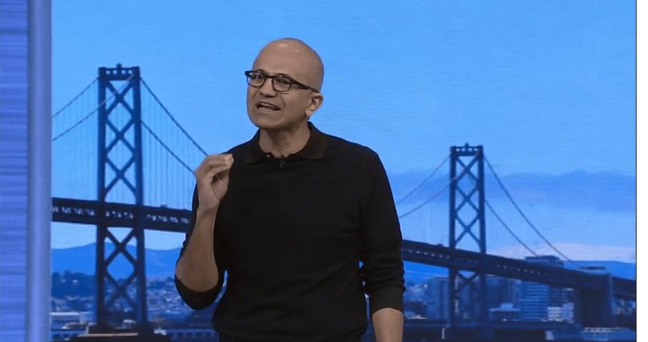 Satya Nadella at Microsoft's Build conference in San Francisco on April 29