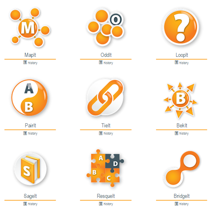 Icons for creative exercises in SparcIt.