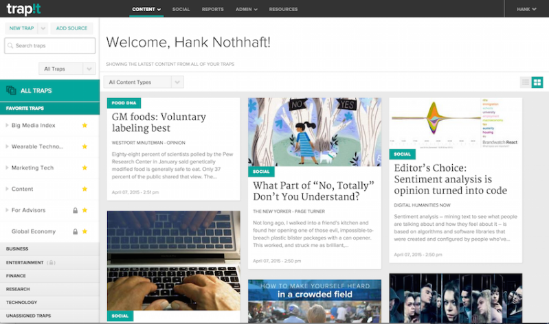 A Trapit screen of curated content for CEO Hank Nothhaft, Jr.
