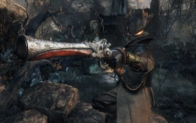 A Bloodborne Hunter aims his pistol.
