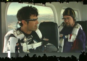 Glass-wearing skydivers dove out of planes to announce the new wearable at Google I/O 2012.