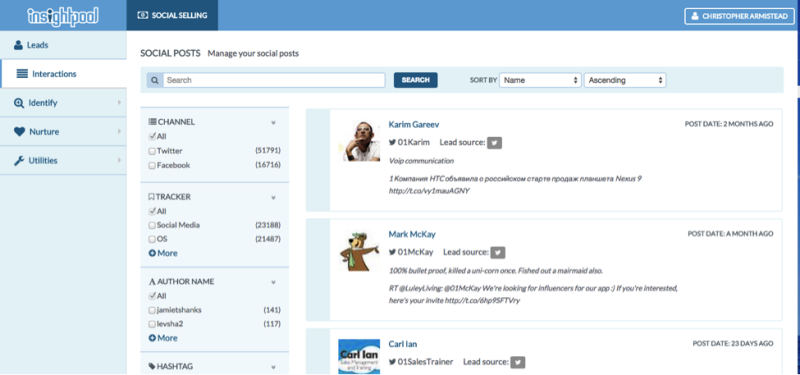 A screen from Insightpool's new social selling platform.