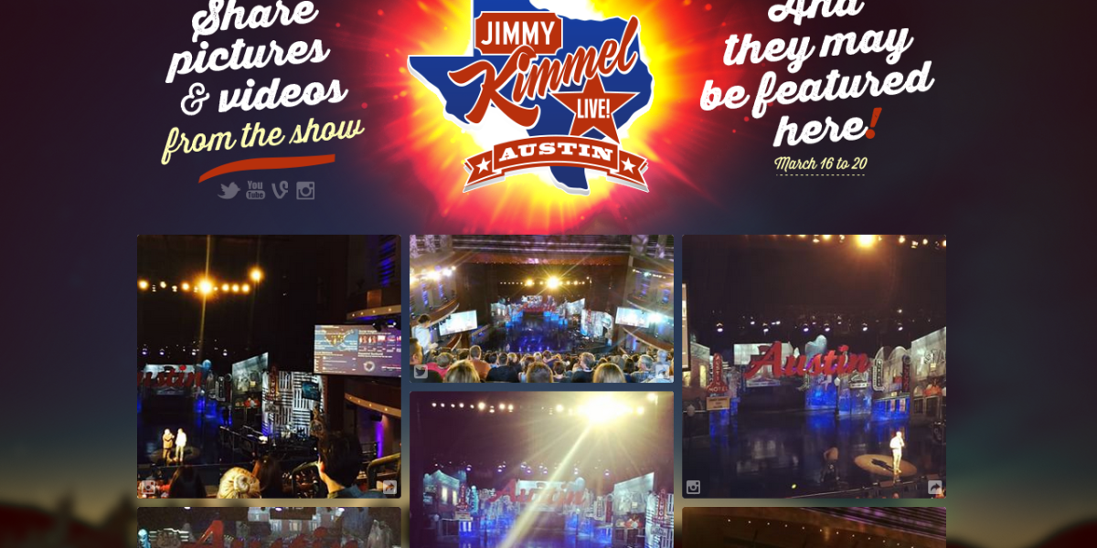 A Fliptu-enabled screen showing selected social posts about a Jimmy Kimmel Live event.