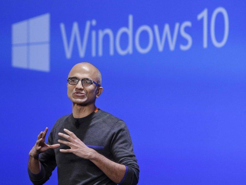 Microsoft CEO Satya Nadella at the Windows 10 reveal earlier this year.