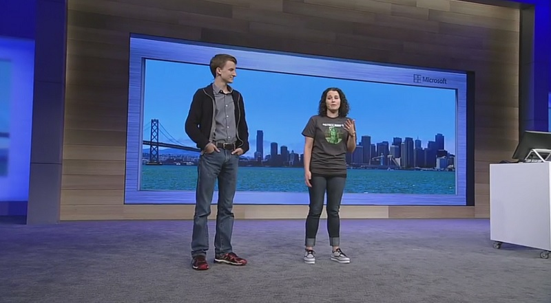 Aiden Brady, left, is a star modder for Minecraft. He introduced a new modding tool for the game at Build.