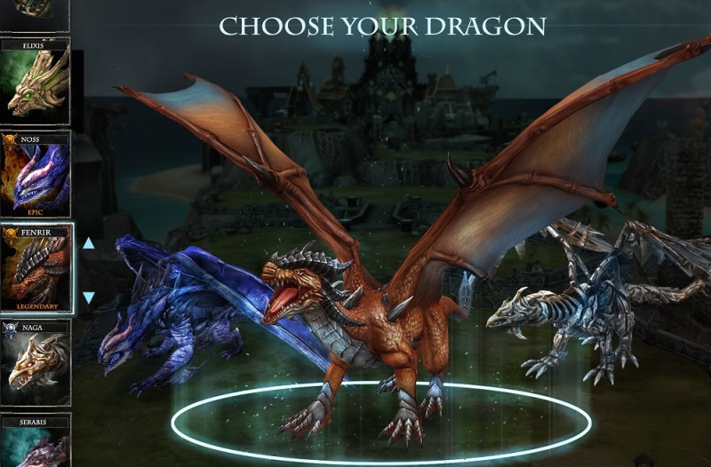 Pick your dragon from among 70 in War Dragons