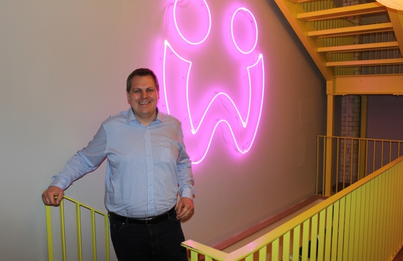 Jens Begemann, the CEO of Wooga, at the company's colorful Berlin headquarters.