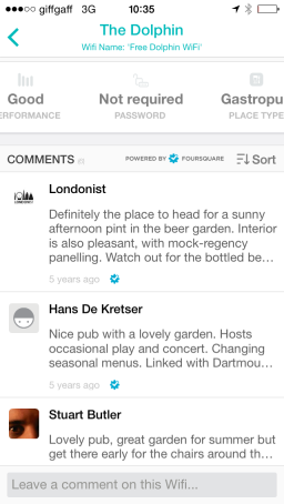 Visitor Comments from Foursquare