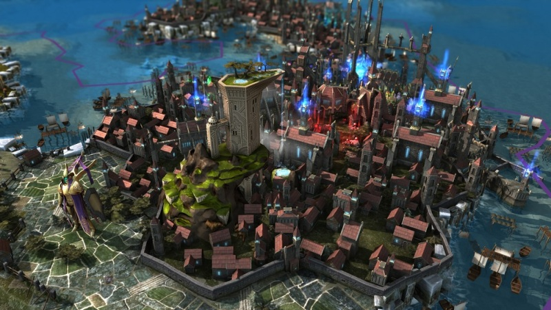 One of Endless Legend's cities during its late game.