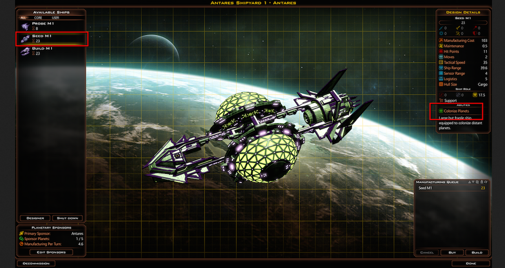 You'll want to establish a shipyard early in order to gain a foothold on the rest of the galaxy.