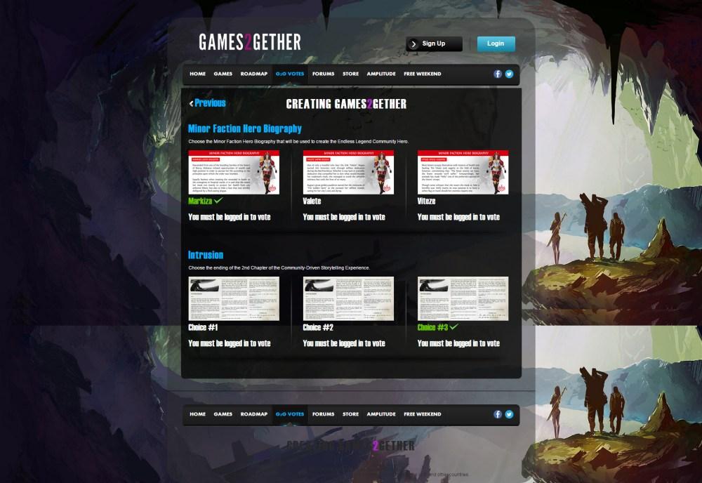 Amplitude Studios' Games2gether portal.