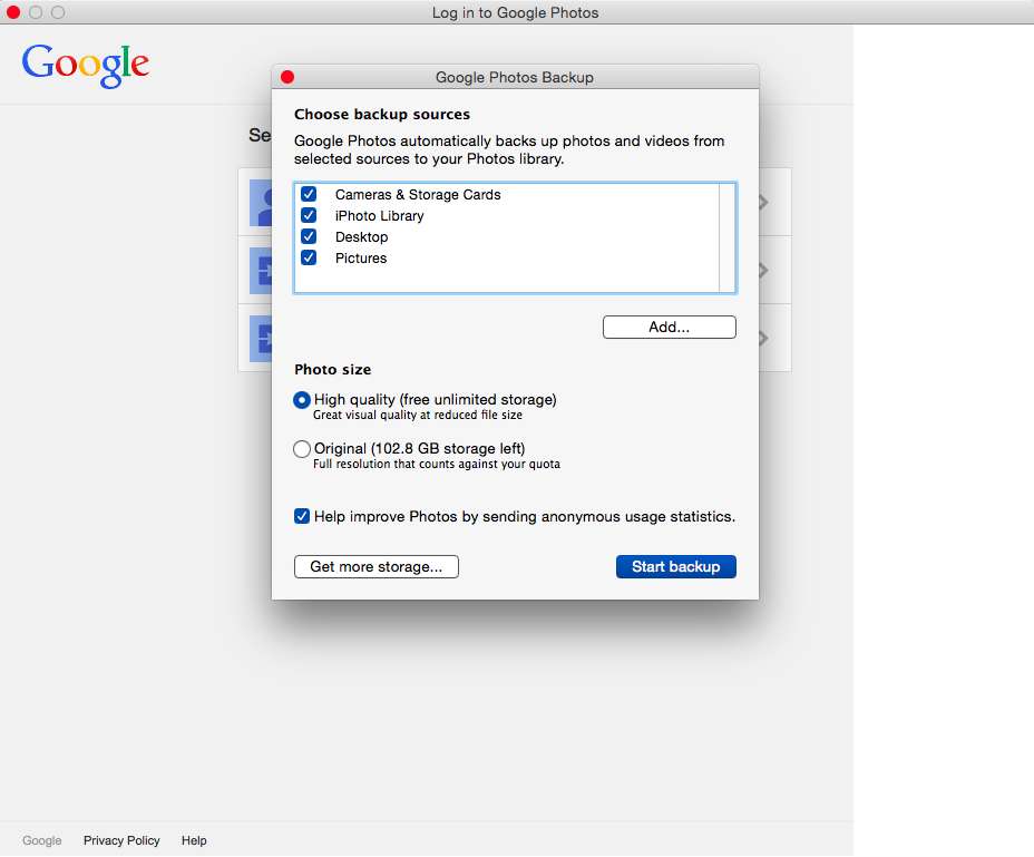 Google Photos Backup on the Mac.