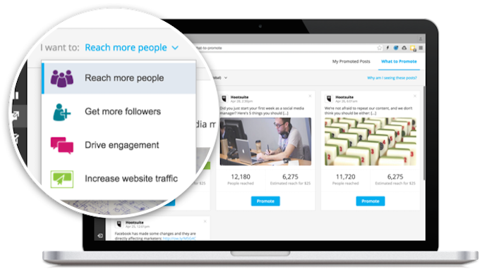 Hootsuite offers four objectives in its new Facebook ad tool.