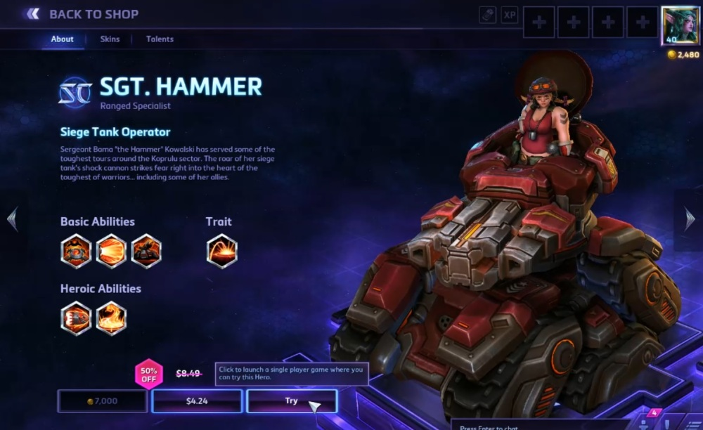 Heroes of the Storm shop page
