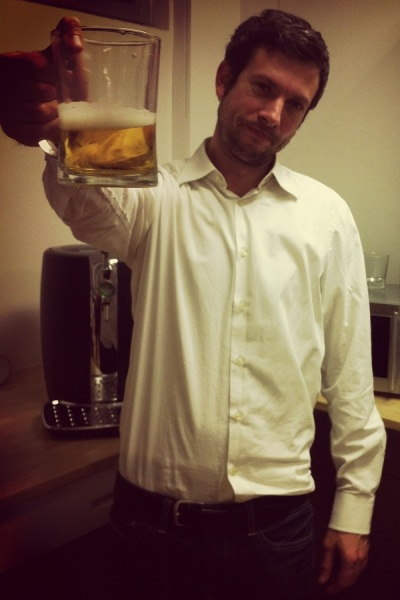 Romain de Waubert hoists a glass. Beer played a role in Dungeon of the Endless's creation.