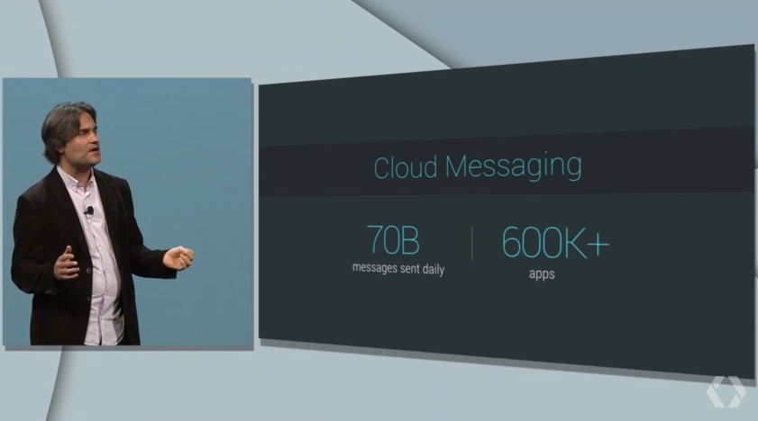Jason Titus, head of the developer product group, talks about Cloud Messaging improvements at the 2015 Google I/O conference in San Francisco on May 28.