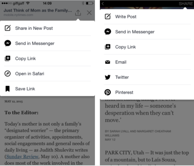 Normal Sharing vs. Instant Article Sharing