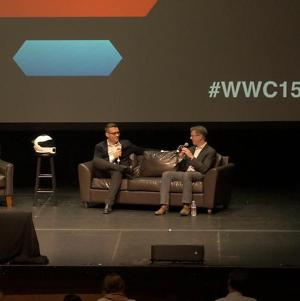 Skully CEO Marcus Weller and VentureBeat editor-in-chief Dylan Tweney onstage at Wearable World Congress.