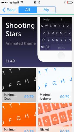 SwiftKey Theme Store on iOS