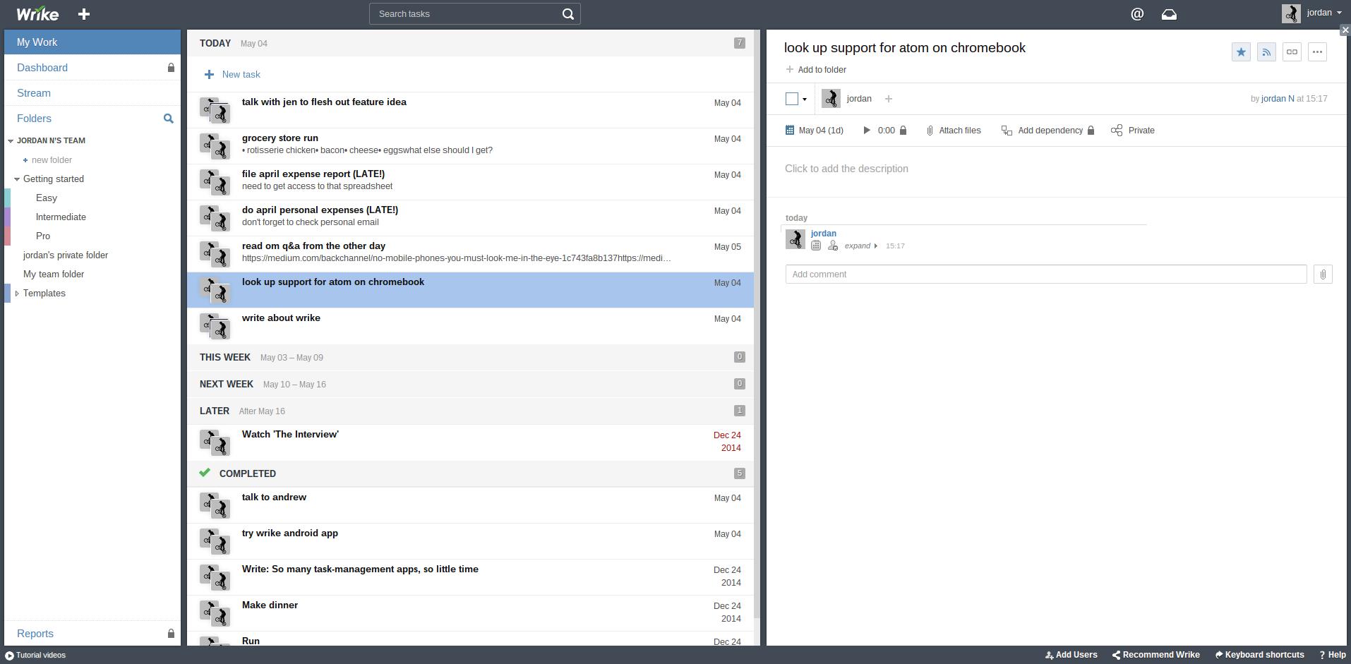 Wrike's desktop user interface as of May 2015.