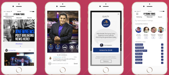 Victorious' app for fans of the online news show, The Young Turks