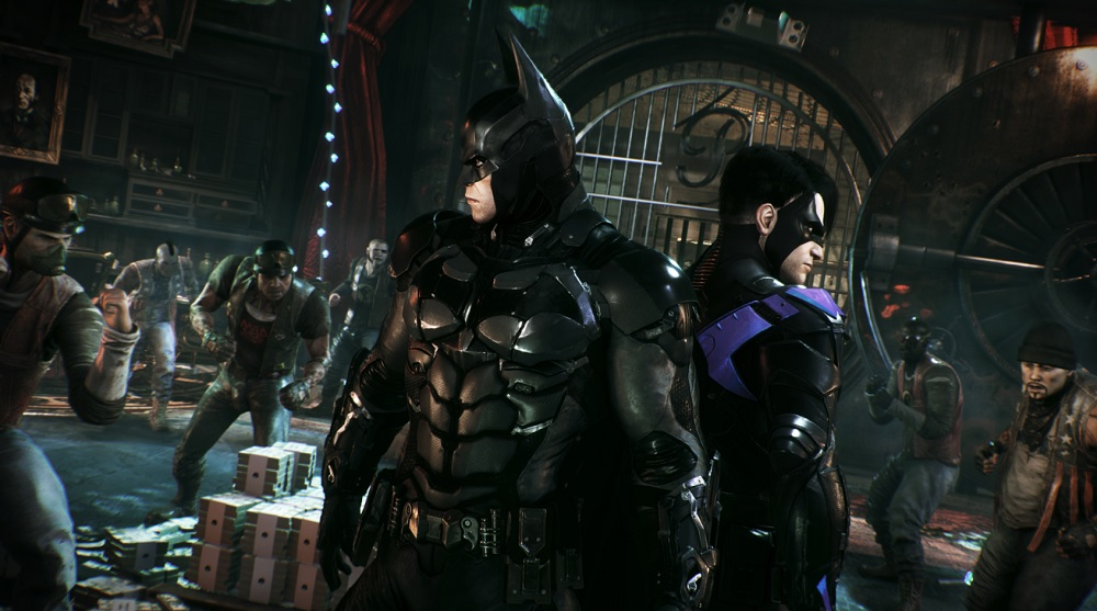 Batman and Nightwing fight off the Penguin's thugs.