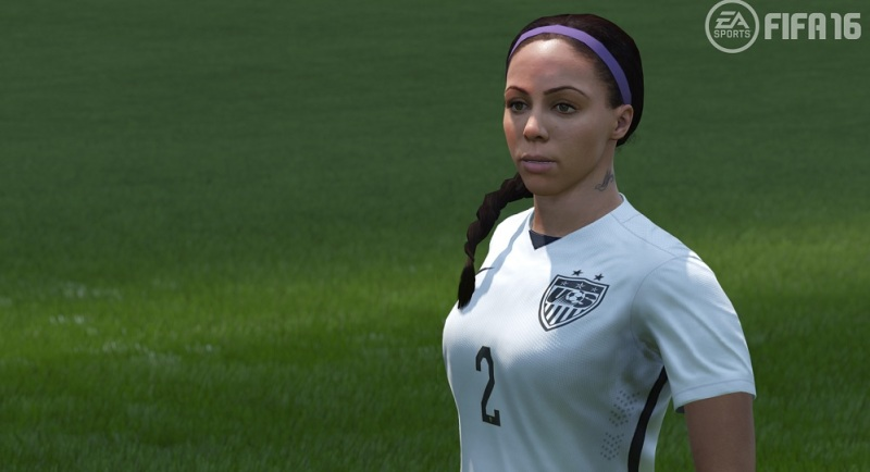 Soccer star Sydney Leroux of the U.S. women's national soccer team, in EA's FIFA 16.