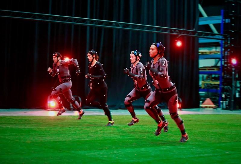 Four U.S. soccer stars do motion capture for FIFA 16 game.