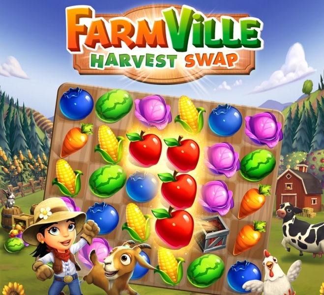 Zynga is launching FarmVille: Harvest Swap as a match 3 game.