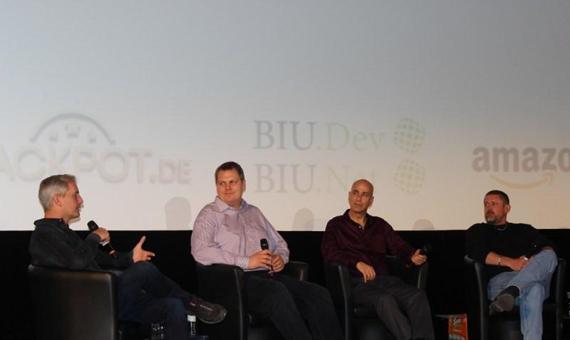 Ed Fries (left) talks on game veterans panel in Berlin.