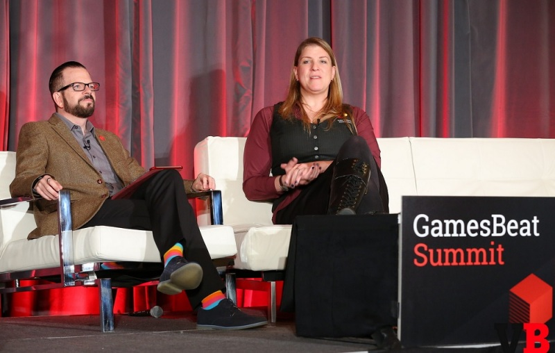 Stewart Rogers of VentureBeat and Kate Edwards of IGDA