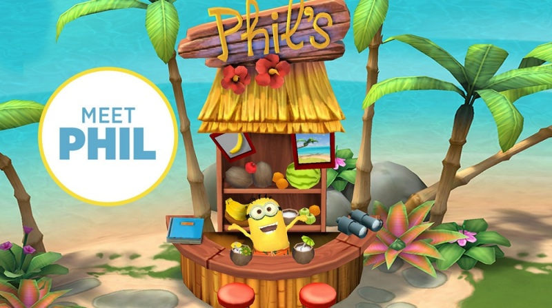 The mobile game action starts at Phil's shack in Minions Paradise
