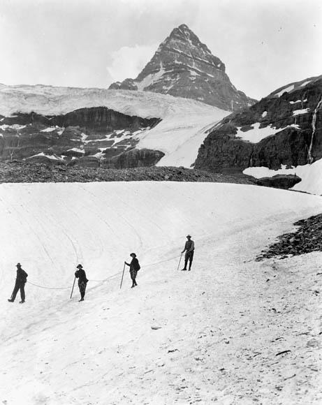Mountain climbing in the Canadian Rockies.