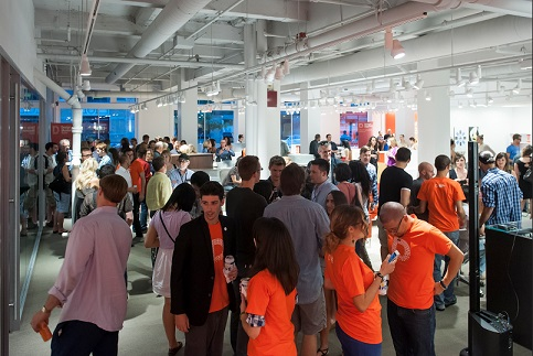 A networking event in Boston's Innovation District