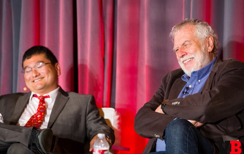 GamesBeat's Dean Takahashi and Nolan Bushnell, founder of Atari.